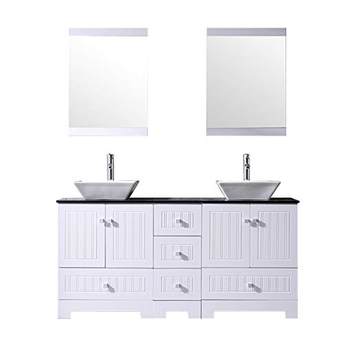 BATHJOY 60' White Double Bathroom Vanity Cabinets and Square Ceramic Vessel Sinks w/Mirrors Faucet Drain Combo