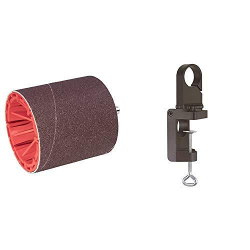 Wolfcraft 2245000 Pulidor cilíndrico, vástago 8 mm Ø 75 x 80 mm + 4802000 soporte para taladros de plástico para taladro Ø 43 mm, reversible