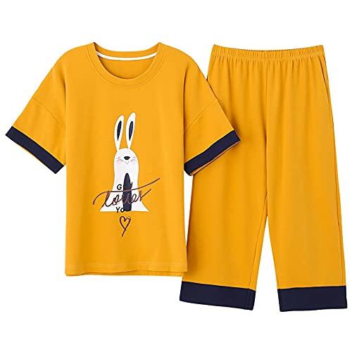 Conjunto de pijama casual Precio de fábrica Algodón de manga corta Ropa de hogar para mujer Pijamas de niña Tallas grandes M-5xl Conjuntos de pijamas casuales para mujer Ropa de dormir XXXL ALS9910