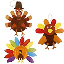 Contains: Pack of 3 Turkey Craft. High quality and long lasting to use. Comes with Thanksgiving shape cut outs - Great for bringing all your DIY Thanksgiving party ideas to life. The finished crafts can be used to decorate the door, wall, window, etc...