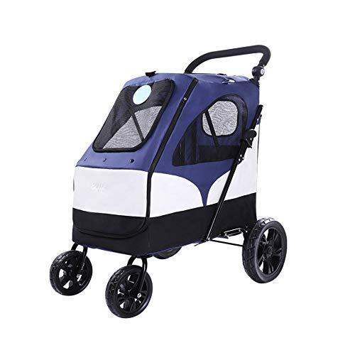 Yaunli Pet trolley Huisdier kinderwagen Kat Puppy Kinderwagen Ademende Zonnescherm Vouwen Kat Hond Kinderwagen Multifunctionele hondenwagen, 65x87x110cm, Blauw