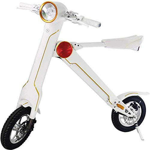 LLLQQQ Motorino Elettrico Pieghevole, con l'altoparlante Bluetooth 12 Pollici Portable Scooter Elettrico Adulti Piccolo Bicicletta elettrica di Crociera Gamma di 40 km,Bianca