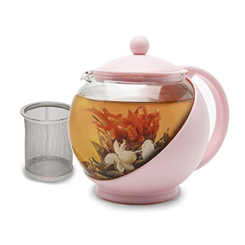 Primula Half Moon Teapot with Removable Infuser, Borosilicate Glass Tea Maker, Stainless Steel Filter, Dishwasher Safe, 40-Ounce, Pink