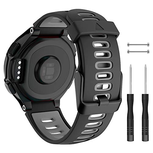 ISABAKE Soft Silicone Sport Watch Band for Garmin Approach S20 S5 S6 Adjustable Black Buckle Watch Strap Compatible with Forerunner 735XT/230/220/235/620/630/ Wristbands-Black