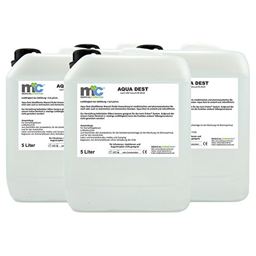 MedicalCorner24 - Agua destilada (4 bidones de 5 L)