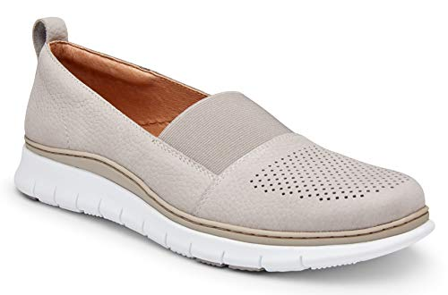 Vionic Women's Fresh Roxan Leisure Travel Shoes - Ladies Slip on Walking Shoe with Concealed Orthotic Arch Support Light Grey 9 Medium US