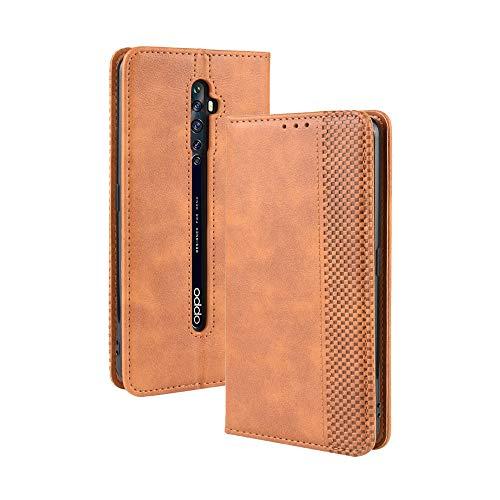 LAGUI Kompatible für Oppo Reno2 Z Hülle, Leder Flip Hülle Schutzhülle für Handy mit Kartenfach Stand & Magnet Funktion als Brieftasche, braun