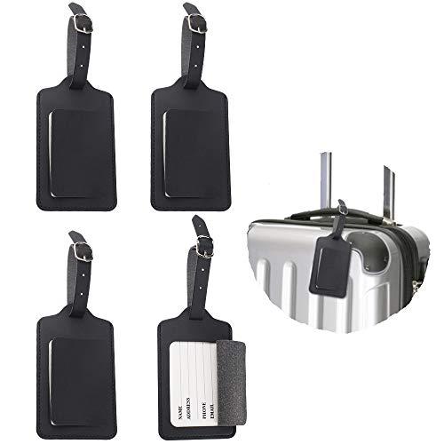 4 Stück Kofferanhänger Adressanhänger für Koffer aus Premium PU-Leder Schwarz Gepäckanhänger Etiketten Kofferanhänger Reise mit Namensschild
