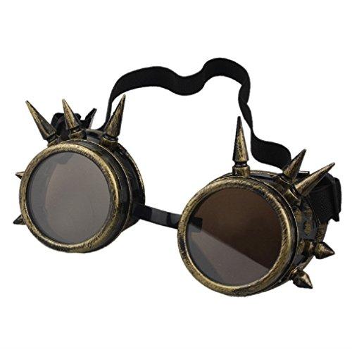 LUCKYCAT Schutzbrille Schweißen Sonnenbrille Welding Cyber LED Goggles Steampunk Goth Round Cosplay Brille Party Fancy Dress