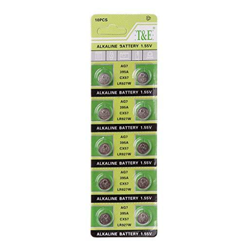 Weishazi Alkali-Batterie AG7 1,55 V Knopfzelle, Uhrenbatterien LR927, LR57, SR927W, 399, GR927, 395A, 10 Stück