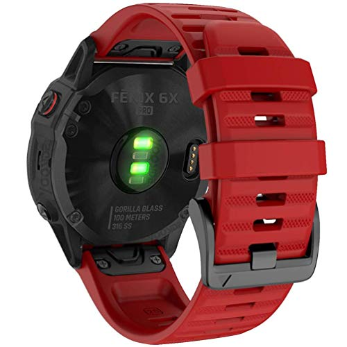 YOOSIDE Quick Easy Fit Watch Band for Garmin Fenix 6X Pro/Sapphire,26mm Soft Non-allergenic Silicone Sport Waterproof Wristband Strap for Garmin Fenix 5X/5X Plus,Fenix 3,Quatix 3,Tactix Bravo(Red)