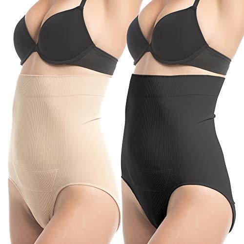 Upspring C-Panty, Gaine de compression postpartum Culotte adaptée après la partie césarienne, deux pièces noires et nues, taille S/M
