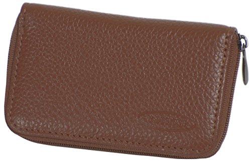 Portemonnaie klein in Braun aus hochwertigem Leder - 1 Münzfach mit Reissverschluss, 2 Kartenfächern + 2 zusätzliche Fächer - Geldbeutel/Geldbörse Mini von K.DESIGNS - Damen + Herren