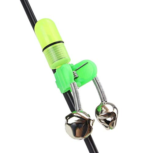 Saim Fishing Rod Alarm Dual, LED Light Clip Sea Night Fishing Rod Tip Twin Bells Ring Bite Lure Indicator Alarm 20 Pcs