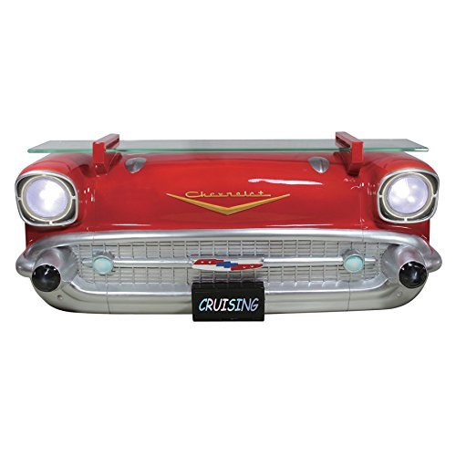 SUNBELTGIFTS BEST BRANDS UNDER THE SUN 1957 Red Bel Air - Floating 3D Shelf w/Working Headlights and Tempered Glass Above The Hood Design - Easy Assembly (7580-83)