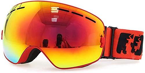 HEDC Gafas de esquí Ajustable OTG Ski Snowboard Goggle sobre Gafas con Anti-Niebla esférica Dual Intercambiable Intercambiable Intercambiable para Hombres Mujeres Juvenil Skiing Snowmobile 21-412