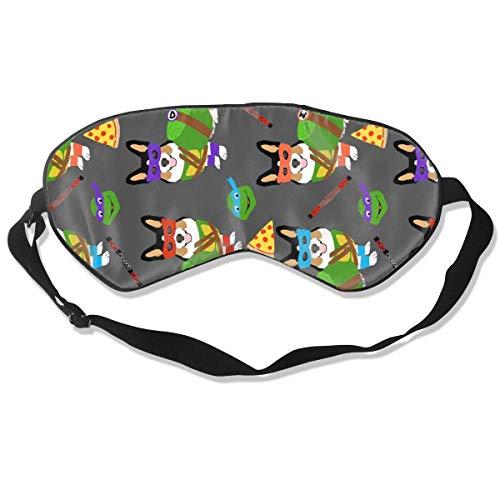 Tri Corgi Ninja Turtle Dog, Honden, Cartoon, Kostuum Slaap Masker Pack Mannen en Vrouwen Of Kinderen Oogmasker Geen Druk Oogmaskers voor Slaap & Reizen