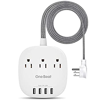 Desktop Power Strip with 3 Outlet 4 USB Ports 4.5A Flat Plug and 5 ft Long Braided Extension Cords for Cruise Ship Travel Home Office ETL Listed