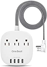Desktop Power Strip with 3 Outlet 4 USB Ports 4.5A, Flat Plug and 5 ft Long Braided Extension Cords for Cruise Ship Travel Home Office, ETL Listed