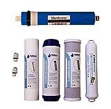 Nature Water Professionals Pack de 4 Filtros Osmosis Inversa Universales y Membrana Universal de 75GPD para Equipos de Osmosis de 5 Etapas + Conectores para Posfiltro y Tubo