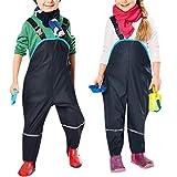 YASSON Salopette Imperméable Enfant Unisex Pantalon Anti Pluie Fille Garçon Bébé Coupe Large Couleur Unie 90-100/XS