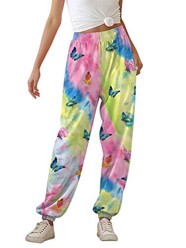 AIDEAONE Hose Damen Jogginghose Lang Sweatpants Freizeithose Loose Fit Batik Bequem Yogahosen