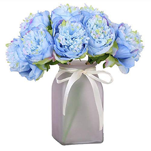 IJHJ Artificial Flower Blue Artificial Large Flowers Peony Fabric 5 Heads Beautiful Silk Big Fake Bouquet Bridal Wedding Home Decoration Table Faux Flower