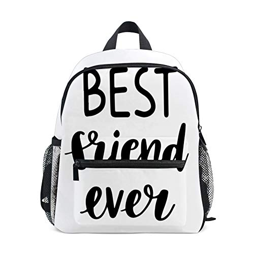 Kids Backpacks School Book Bag,Best Friend Ever Cursive Lettering Monochrome Cute Illustration
