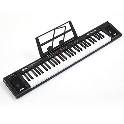 ZHRUNS Elektrisches Keyboard 61 Tasten & Noten Notenständer-Tragbares elektronisches Keyboard-Musikinstrument mit Kopfhöreranschluss & Unterrichtsmodi für Anfänger (Erwachsene und Kinder) (Schwarz)