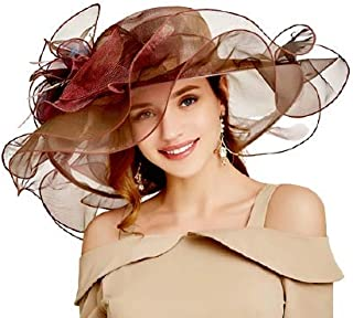 Women's Organza Wide Brim Sun Hat Kentucky Derby Church Hats with flower Bridal Dress Cap Party Wedding Formal Fascinator ...