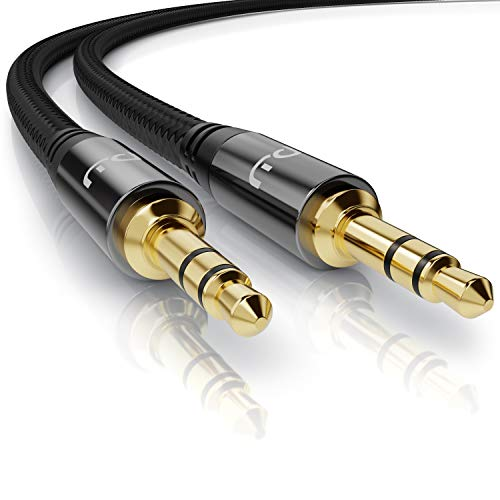 Primewire – 10m - Cable Audio AUX - Jack Macho a Macho 3,5mm - Funda de Nylon - Compatible con Apple iPhones iPads, Auriculares, Smartphones Reproductores MP3 tabletas, estéreo HiFi etc - Color Negro