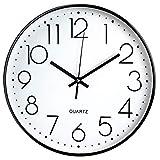 Tebery Horloge Murale sans tic-tac, Moderne, silencieuse, Grand Cadran Noir