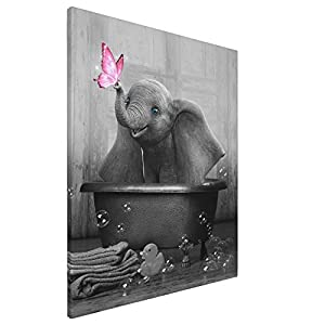 Canvas Wall Art Elephant In Bathtube Canvas Print Black And White Animal Wall Art Contemporary Painting Bathtub Wall Decor Funny Artworks Home Decor For Bathroom Living Room Bedroom Framed 16x20inch
