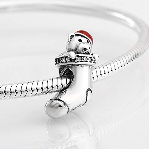 DASFF nieuwe 925 sterling zilver rood emaille hoed Little Bear en zirkoon sokken parels passen originele bedelarmband sieraden