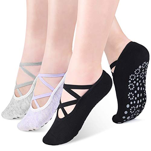 Women Yoga Socks Pilates Socks With Grips -Non Slip Socks No Show Socks for Yoga Ballet Dance Gym Hospital - 3 Pack
