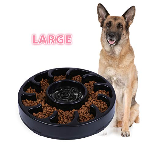 JASGOOD Slow Dog Bowl for Large Dogs,Fun Bowl Slow Feeder,Anti-Gulping Dog Slow Feeder Stop Bloat,Slow Eating Big Pet Bowl (A-Black)