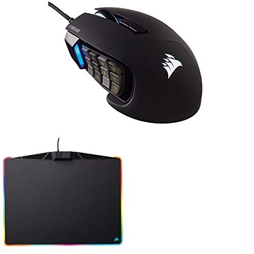 COSAIR SCIMITAR Pro RGB - MMO Gaming Mouse - 16,000 DPI Optical Sensor - 12 Programmable Side Buttons - Black and CORSAIR MM800 Polaris RGB Mouse Pad - 15 RGB LED Zones - USB Passthrough - High-Performance Mouse Pad Optimized for Gaming Sensors