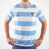 CJF Stripe Men's Rugby Clothing Sports Fan Classic Rugby T-Shirt, Rugby Jersey, White and Blue,Blue,XL