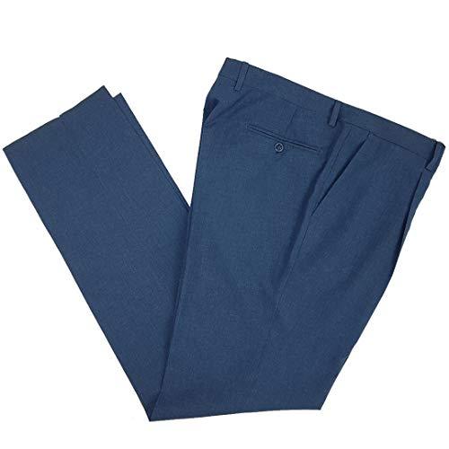 N+1 Pantalone Uomo Classico in Fresco Lana Elegante Vita Alta Gamba Larga 46 48 50 52 54 56 58 60 (58(108cm) - Avion)