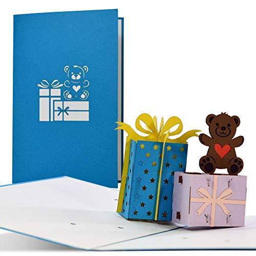 Geburtstagskarte mit 3D Geschenken und Teddy, süße Pop up Glückwunschkarte zum Geburtstag, Geschenkidee Kinder und Geldgeschenke, G20