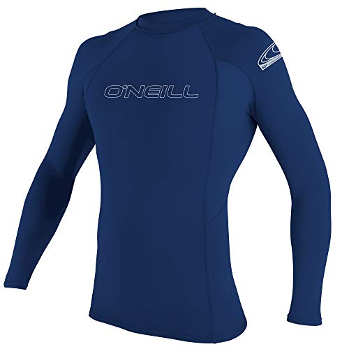 O'Neill Wetsuits Men's Basic Skins Long Sleeve Rash Guard Chaleco Protector, Hombre, Azul Marino, L