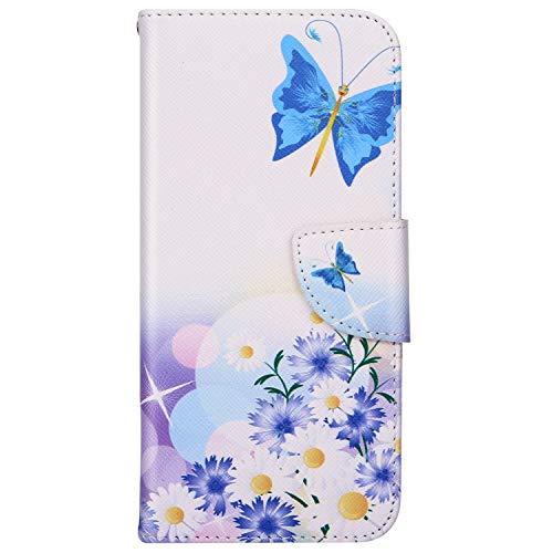 Herbests Kompatibel mit Handytasche Galaxy A6 2018 Lederhülle Flip Hülle Leder Klapphülle Ledertasche Bookstyle Cover Brieftasche Schutzhülle Wallet Case Handyhülle Leder Tasche,Blau Blumen Butterfly