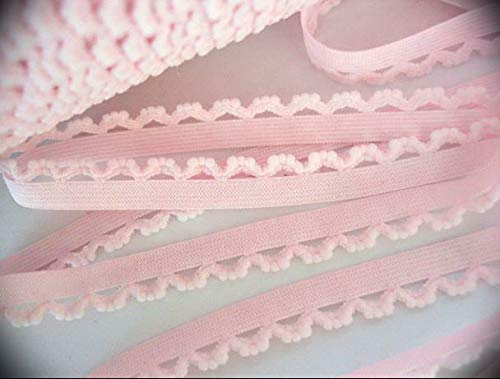 10 Yards Elastic 1/2' Soft Plush Eyelet Scallop Ribbon Lace Trim Embroidery Applique Fabric Grosgrain Delicate DIY Art Craft Supply for Scrapbooking Gift Wrapping Baby Sewing T30-Pink