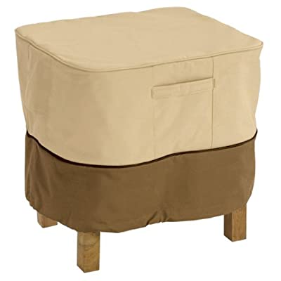 Classic Accessories Veranda Water-Resistant 21 Inch Square Patio Ottoman/Side Table Cover
