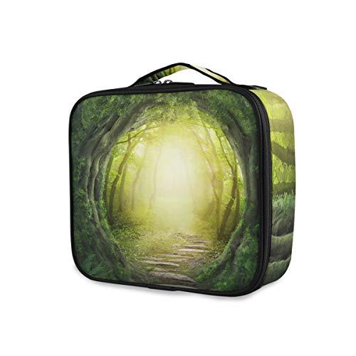 Sac de maquillage de stockage de voyage Art Road Mysterious Forest Tools Cosmetic Train Case Trousse de toilette Portable Cute