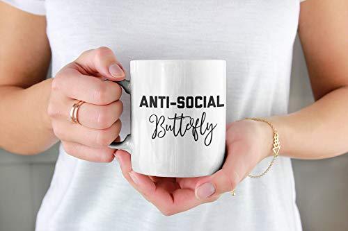 Taza de café con diseño de mariposa antisocial, taza de cerámica de 325 ml