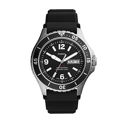 Fossil Men's FB-02 Quartz Silicone Three-Hand Watch, Color: Black Silicone (Model: FS5689)