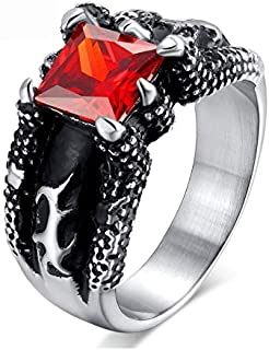 حجر أحمر خاتم خمر التنين المخلب الرجال خمر مجموعة المجوهرات الدائري الإفراط