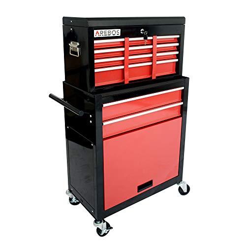 AREBOS Werkstattwagen Werkzeugwagen Rollwagen | 9 Fächer | Rot-Schwarz | Antirutschmatten | Kofferaufsatz mobil & herausnehmbar | Zentraler Verschlussmechanismus | Massives Metall
