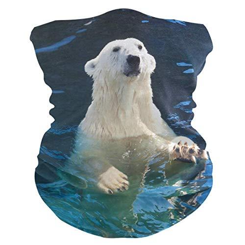 Headscarf dier, ijsbeer, wasbaar, uv-bedrukking, hoofdband, ademend, winddicht, 25 x 50 cm, zachte activiteiten bescherming, bandanas, multifunctionele halsmanchet, hoofddoek voor buiten